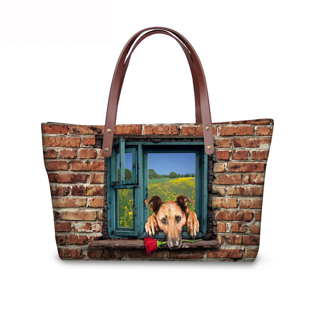 PhoRock Women 3D Cat & Dog lied on the Window Large Tote Bag NKB3D031 5