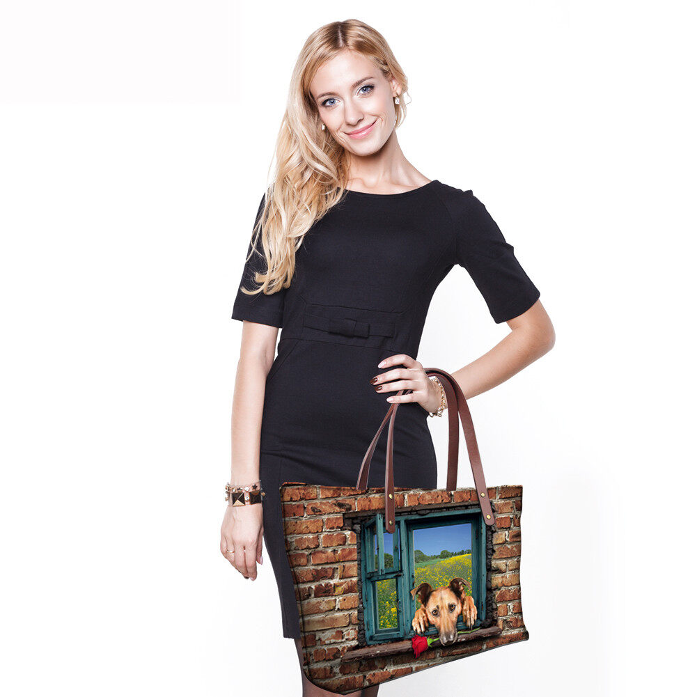 PhoRock Women 3D Cat & Dog lied on the Window Large Tote Bag NKB3D031 8