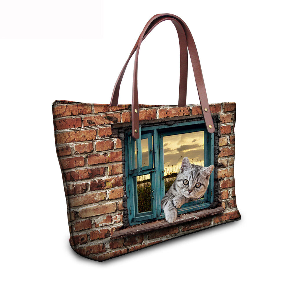 PhoRock Women 3D Cat & Dog lied on the Window Large Tote Bag NKB3D031 9