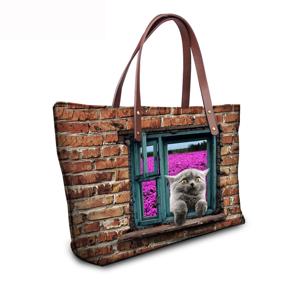 PhoRock Women 3D Cat & Dog lied on the Window Large Tote Bag NKB3D031 10