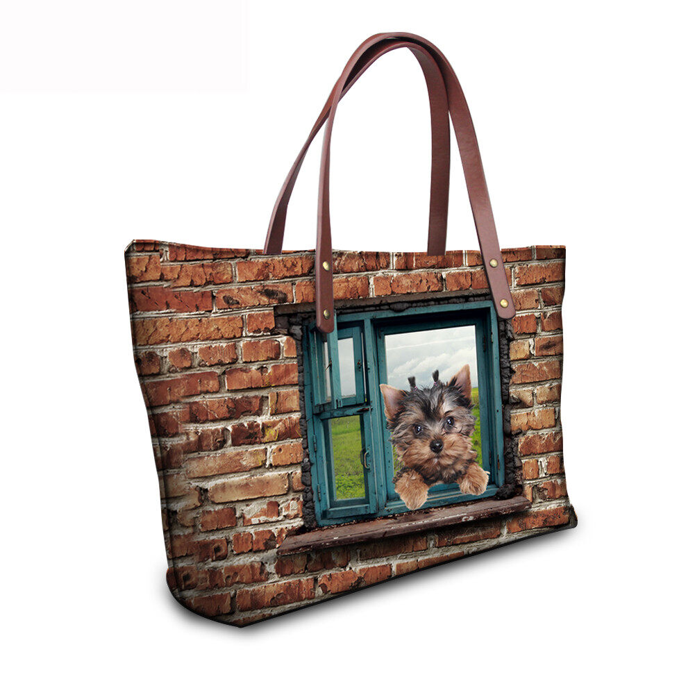 PhoRock Women 3D Cat & Dog lied on the Window Large Tote Bag NKB3D031 11