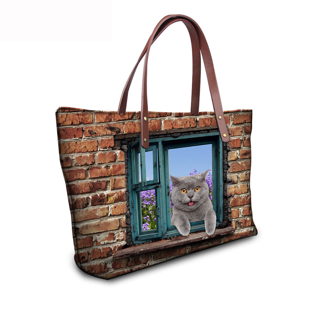 PhoRock Women 3D Cat & Dog lied on the Window Large Tote Bag NKB3D031 12