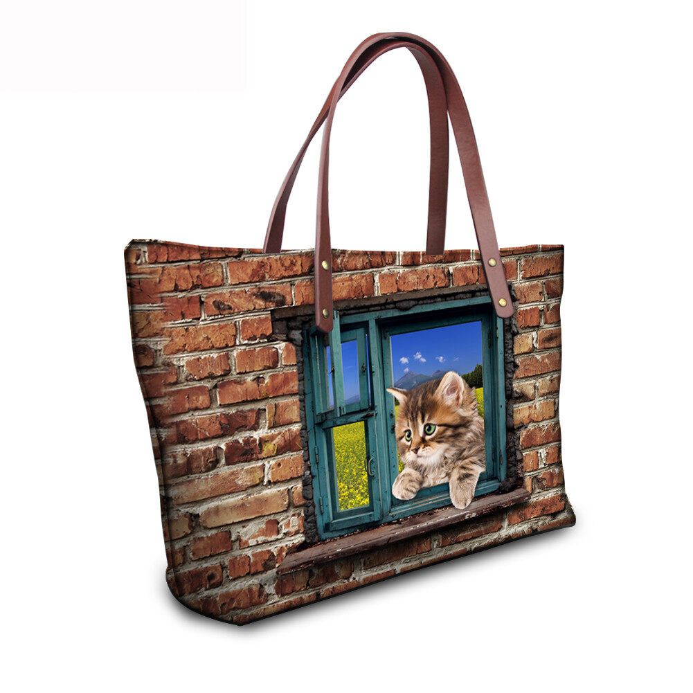 PhoRock Women 3D Cat & Dog lied on the Window Large Tote Bag NKB3D031 13
