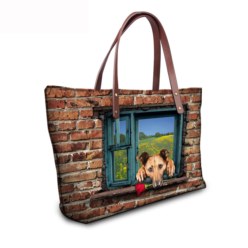 PhoRock Women 3D Cat & Dog lied on the Window Large Tote Bag NKB3D031 14