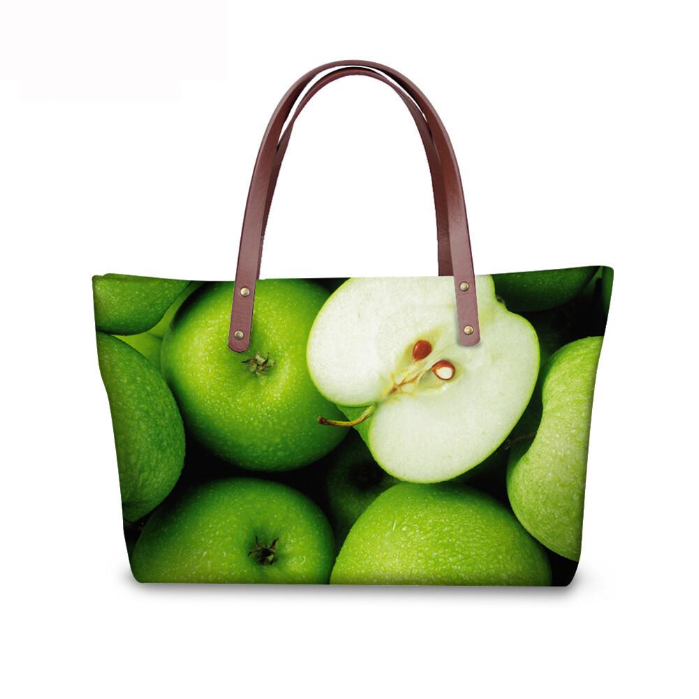 PhoRock Women 3D Fresh Fruits Printing Large Top Handle Shoulder Bags NKB3D040 1