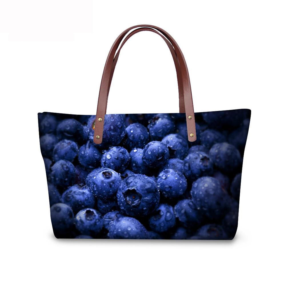 PhoRock Women 3D Fresh Fruits Printing Large Top Handle Shoulder Bags NKB3D040 3
