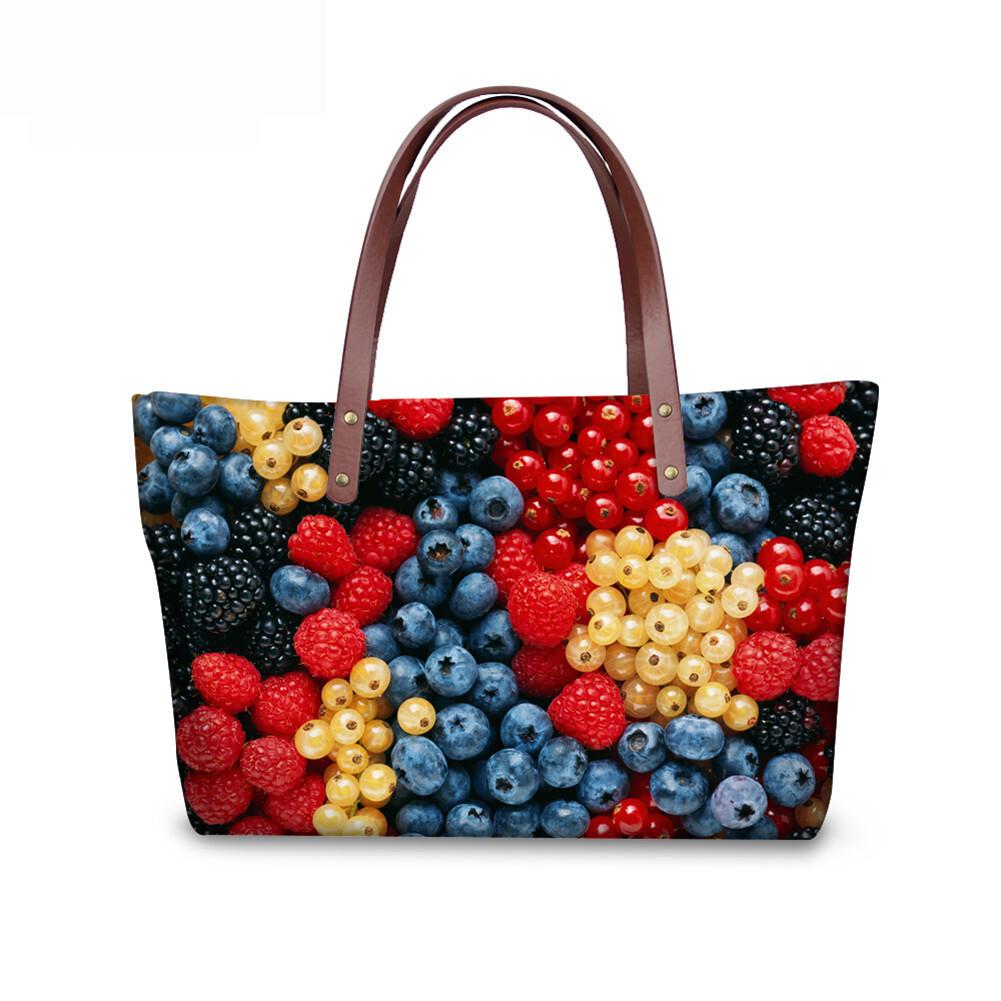 PhoRock Women 3D Fresh Fruits Printing Large Top Handle Shoulder Bags NKB3D040 5