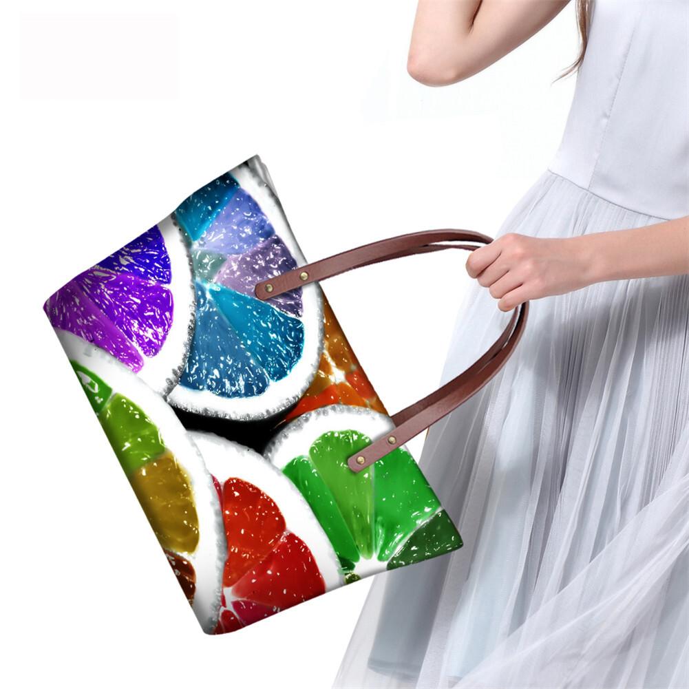 PhoRock Women 3D Fresh Fruits Printing Large Top Handle Shoulder Bags NKB3D040 8