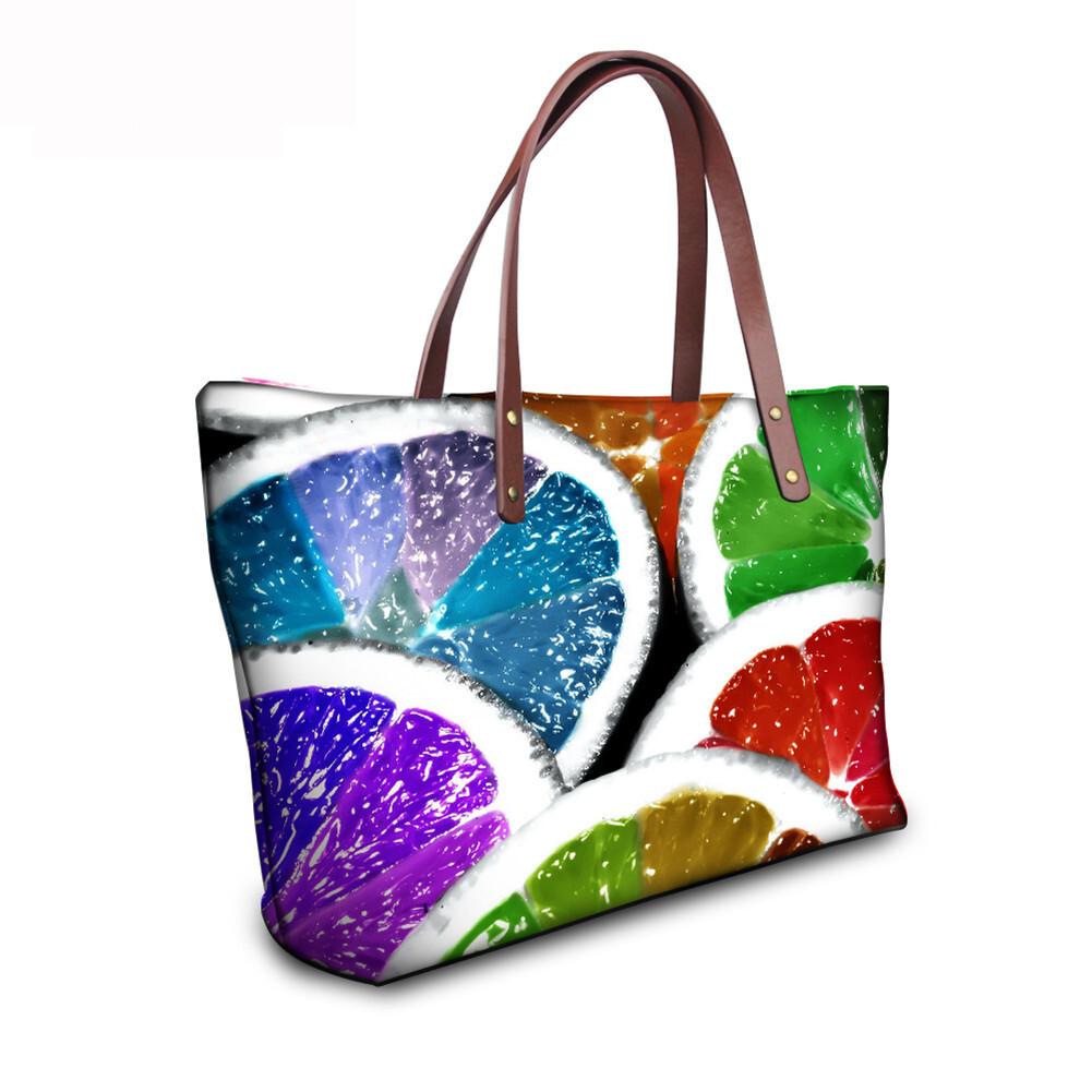 PhoRock Women 3D Fresh Fruits Printing Large Top Handle Shoulder Bags NKB3D040 9