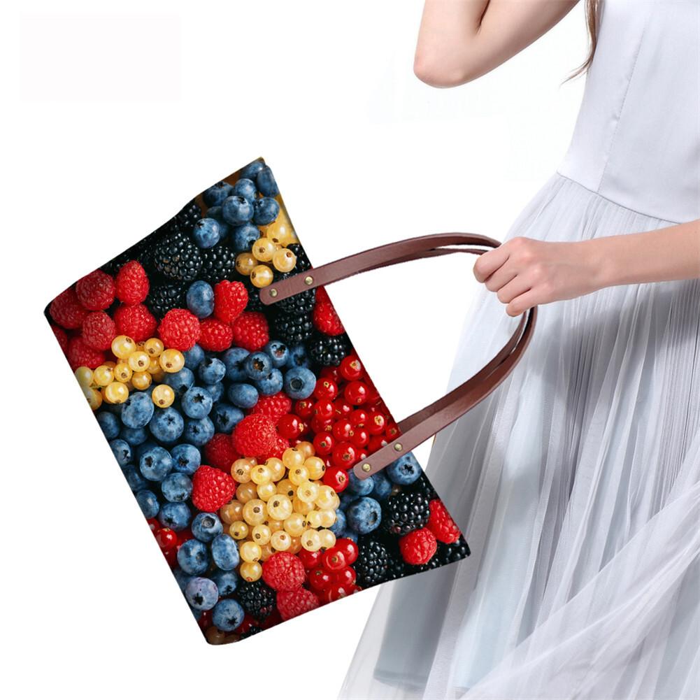 PhoRock Women 3D Fresh Fruits Printing Large Top Handle Shoulder Bags NKB3D040 14