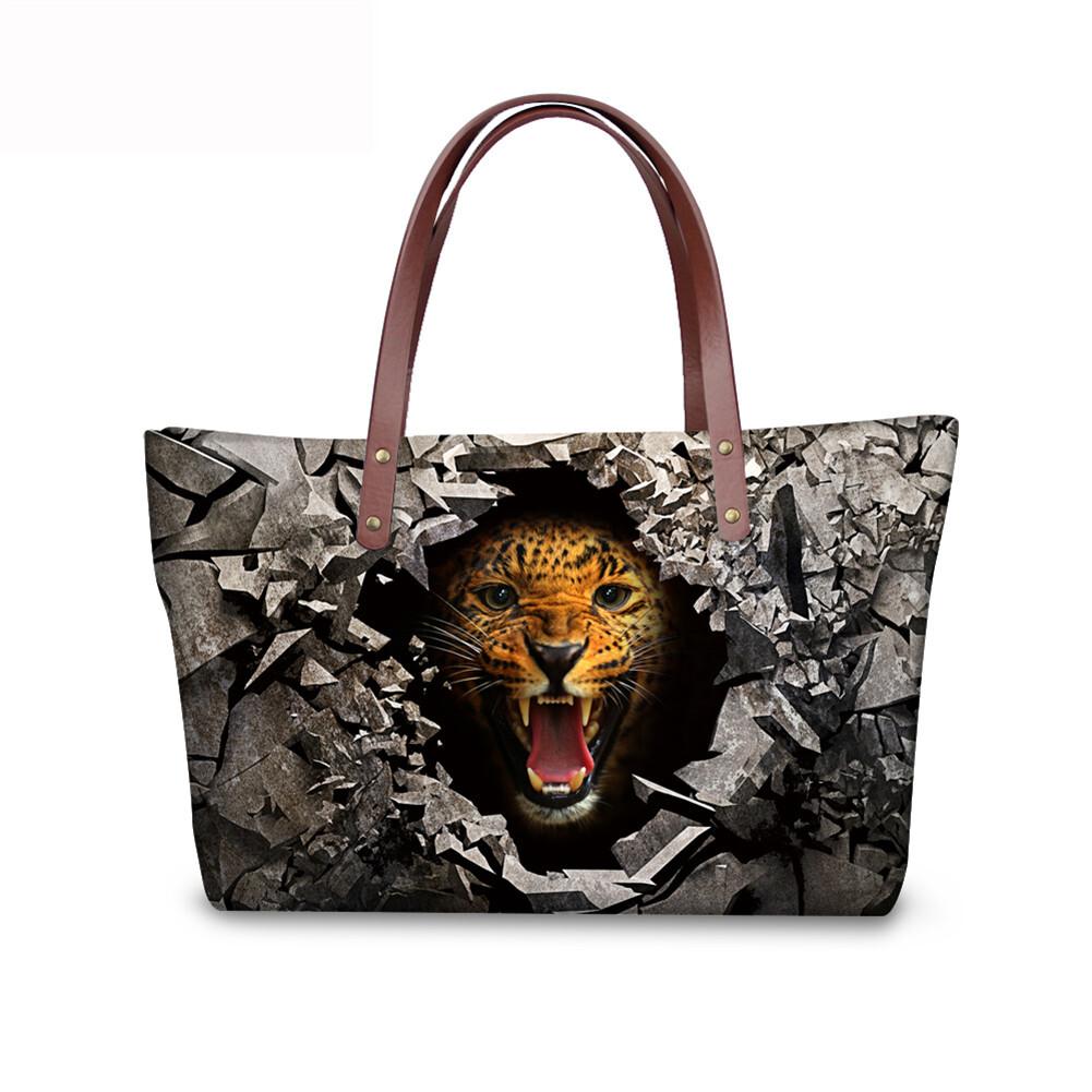PhoRock Women 3D Raving Tigher Printed  Large Tote Bag NKB3D060 1