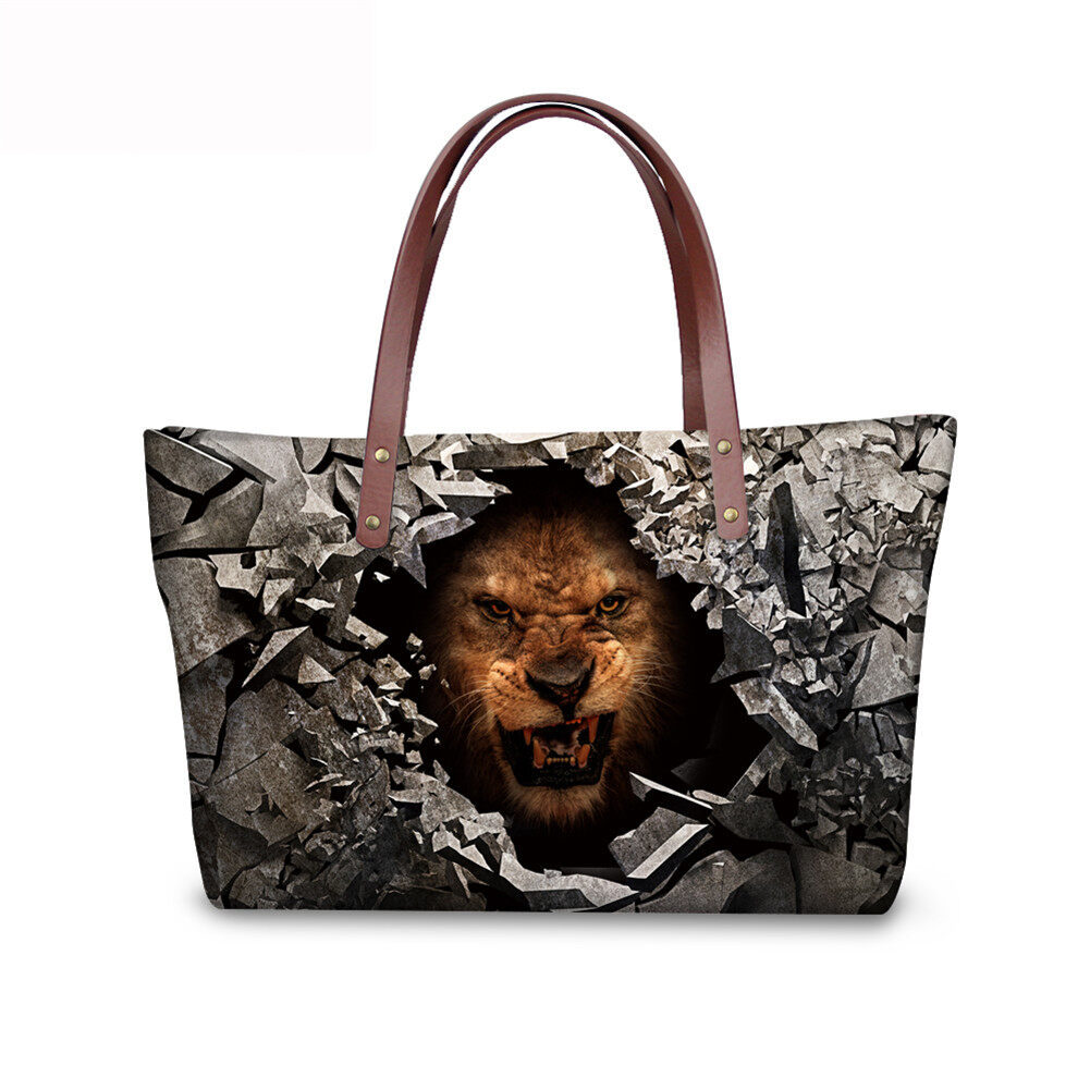 PhoRock Women 3D Raving Tigher Printed  Large Tote Bag NKB3D060 3