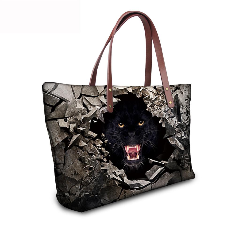 PhoRock Women 3D Raving Tigher Printed  Large Tote Bag NKB3D060 11