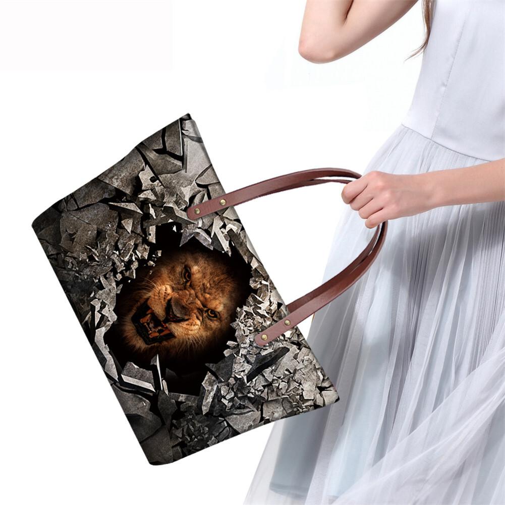 PhoRock Women 3D Raving Tigher Printed  Large Tote Bag NKB3D060 14