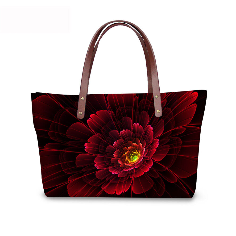 PhoRock Women Large Top Handle Shoulder Bags 3D Flowers printed Handbag NKB3D002 2