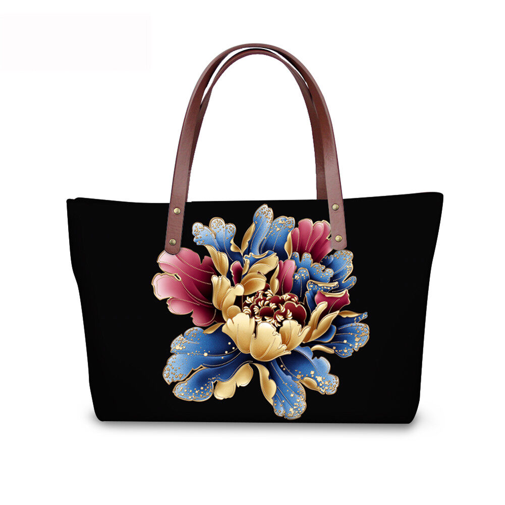 PhoRock Women Large Top Handle Shoulder Bags 3D Flowers printed Handbag NKB3D002 5