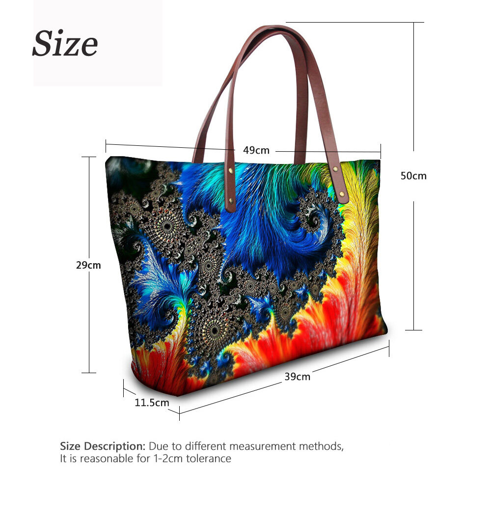 PhoRock Women Large Top Handle Shoulder Bags 3D Flowers printed Handbag NKB3D002 6
