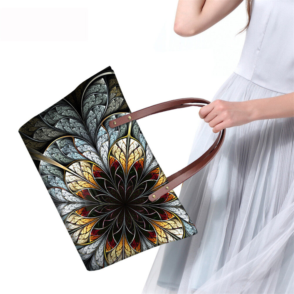 PhoRock Women Large Top Handle Shoulder Bags 3D Flowers printed Handbag NKB3D002 8