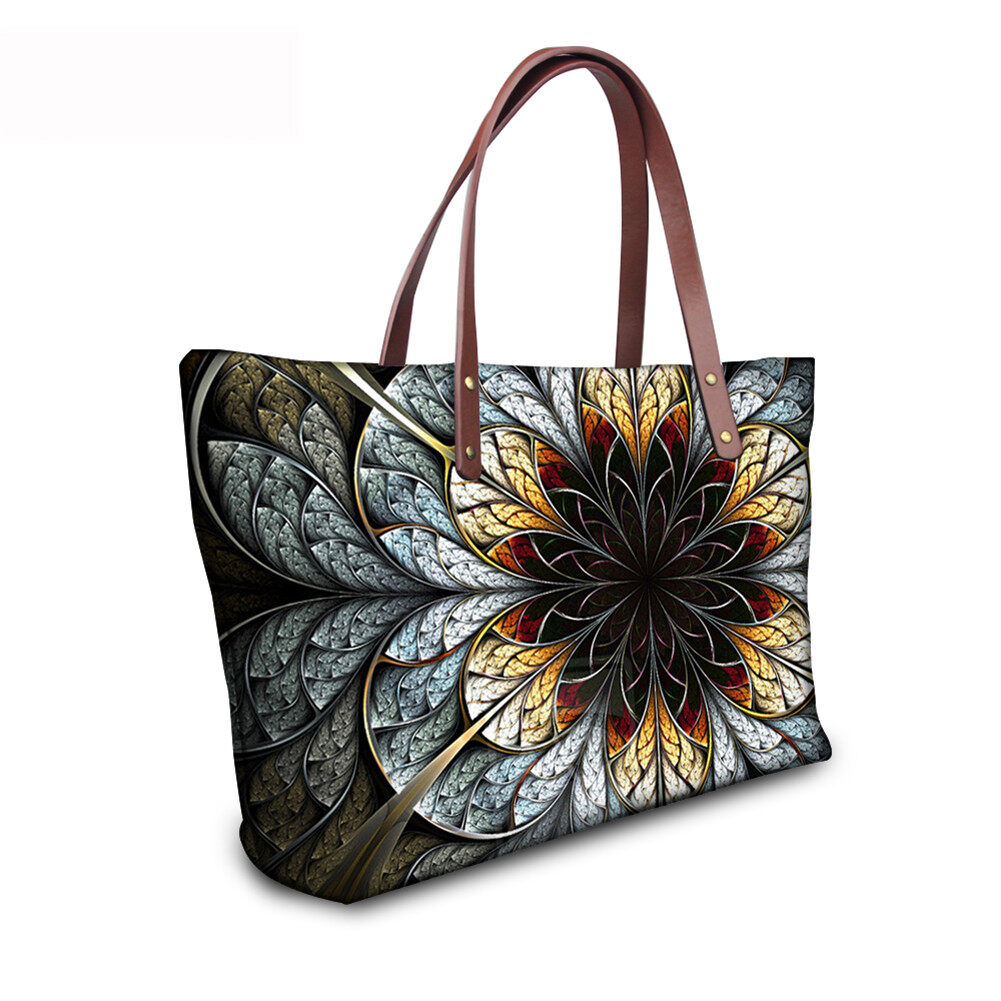 PhoRock Women Large Top Handle Shoulder Bags 3D Flowers printed Handbag NKB3D002 9