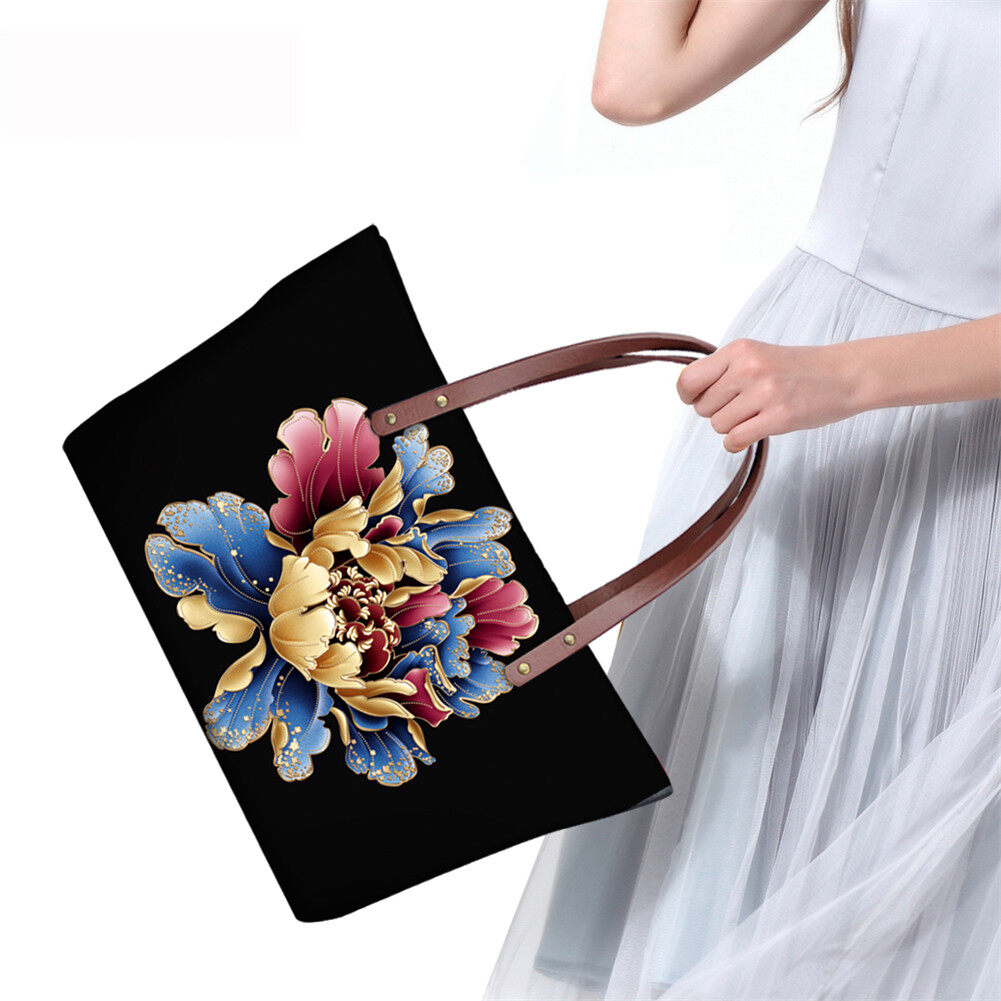 PhoRock Women Large Top Handle Shoulder Bags 3D Flowers printed Handbag NKB3D002 14