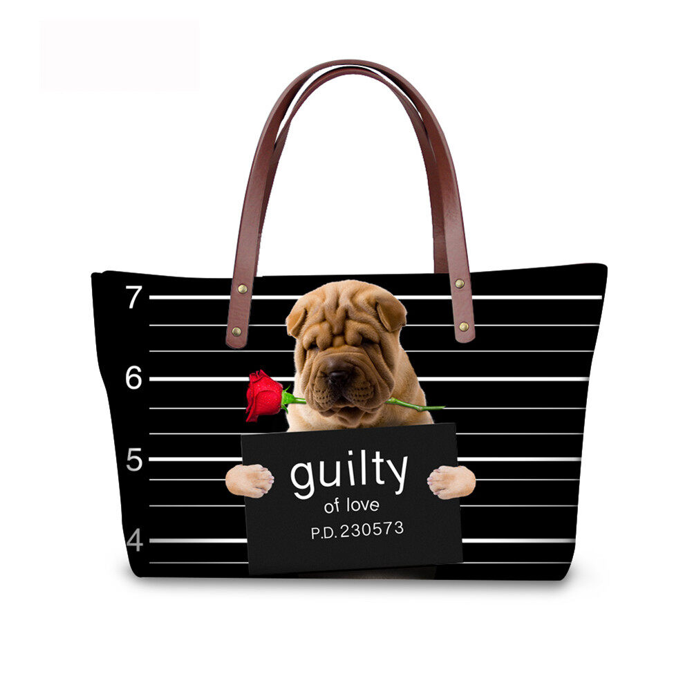 PhoRock Women Large Top Handle Shoulder Bags 3D Funny Dogs Printed Handbag NKB3D006 4