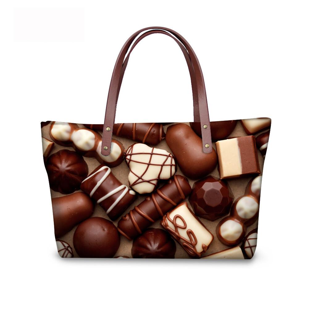 PhoRock Women Large Tote Bag 3D Chocolate Printed Handbag NKB3D052 2