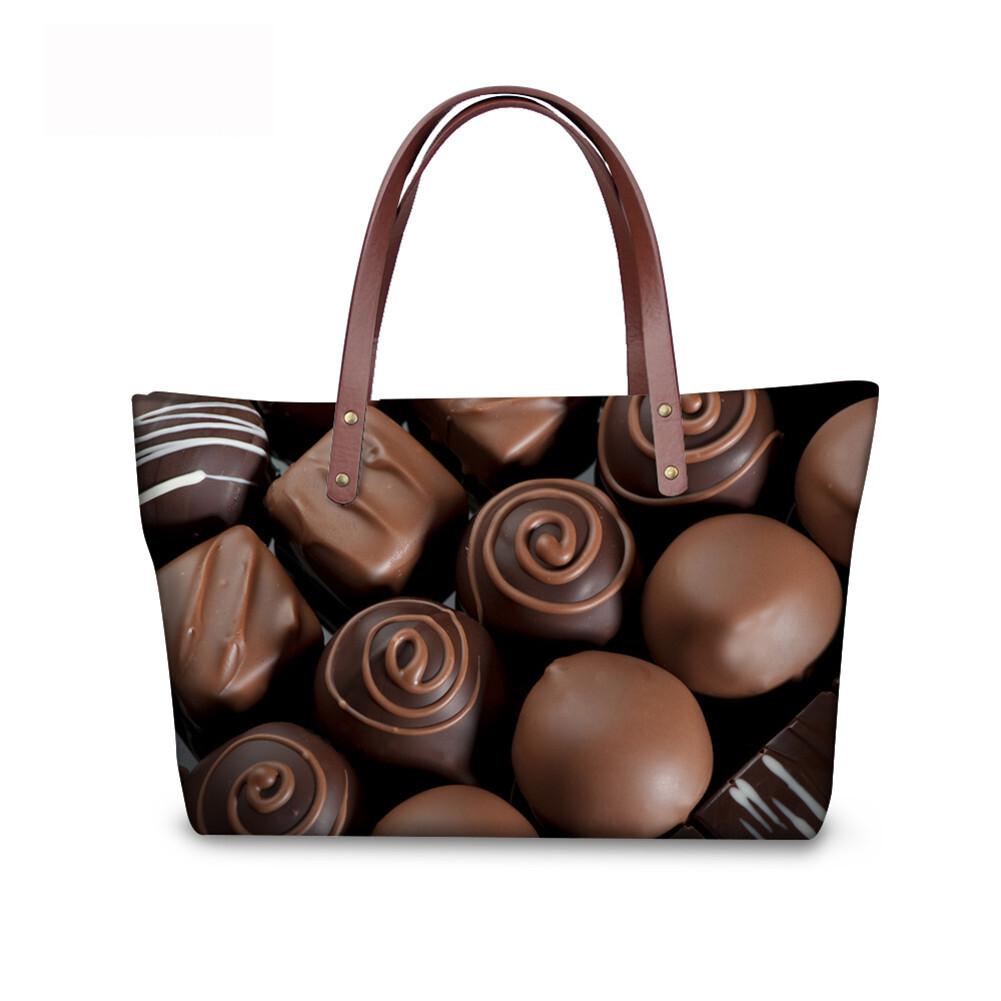 PhoRock Women Large Tote Bag 3D Chocolate Printed Handbag NKB3D052 3