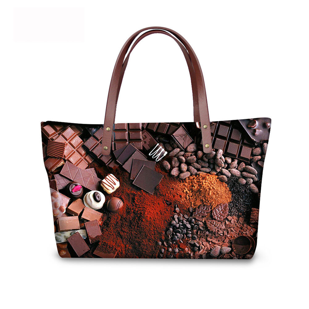 PhoRock Women Large Tote Bag 3D Chocolate Printed Handbag NKB3D052 5