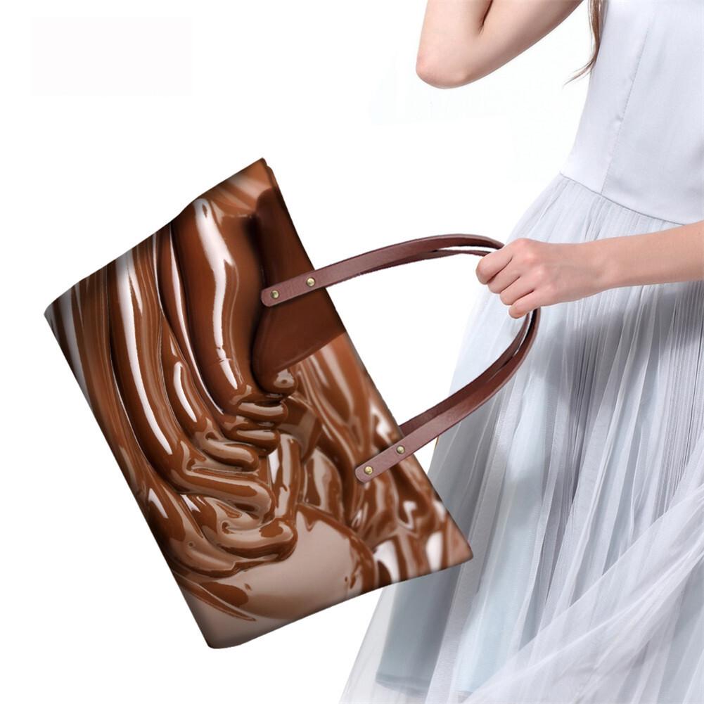 PhoRock Women Large Tote Bag 3D Chocolate Printed Handbag NKB3D052 10