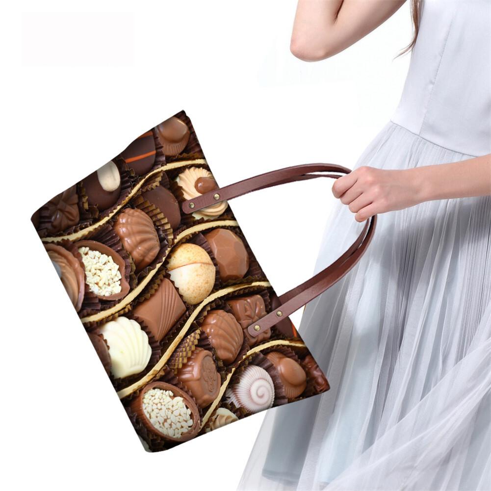 PhoRock Women Large Tote Bag 3D Chocolate Printed Handbag NKB3D052 12