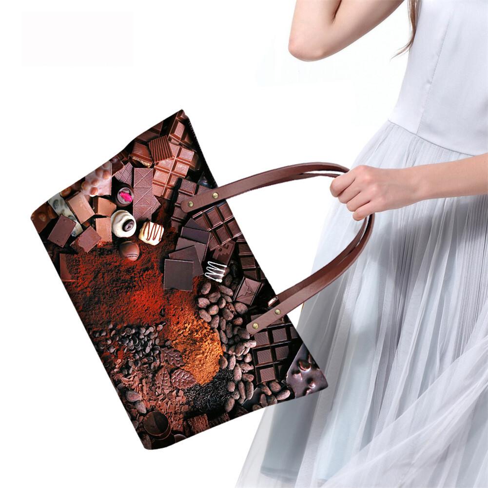 PhoRock Women Large Tote Bag 3D Chocolate Printed Handbag NKB3D052 13