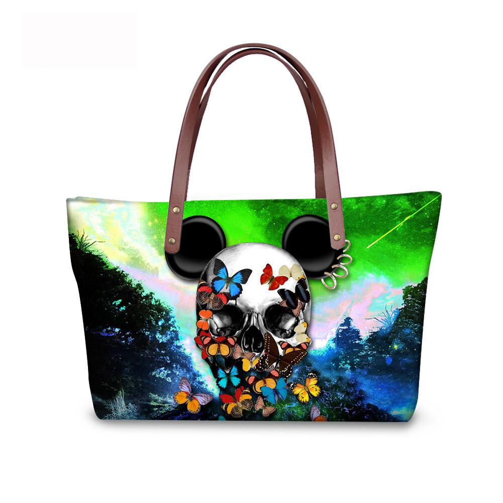 PhoRock Women Large Tote Bag 3D Colored Skull Printed Handbag NKB3D058 0