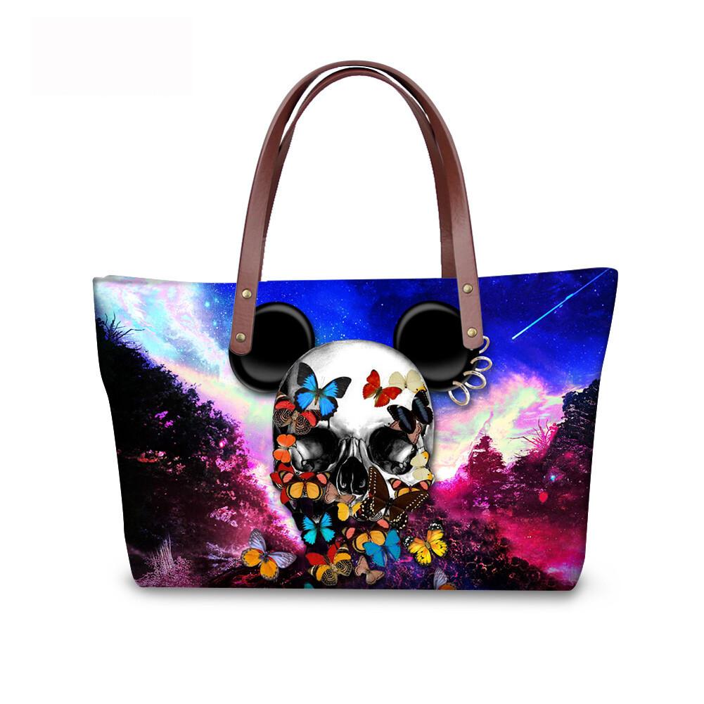 PhoRock Women Large Tote Bag 3D Colored Skull Printed Handbag NKB3D058 1