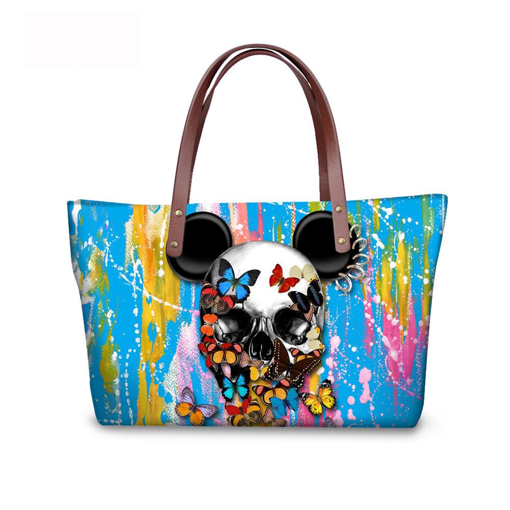 PhoRock Women Large Tote Bag 3D Colored Skull Printed Handbag NKB3D058 2