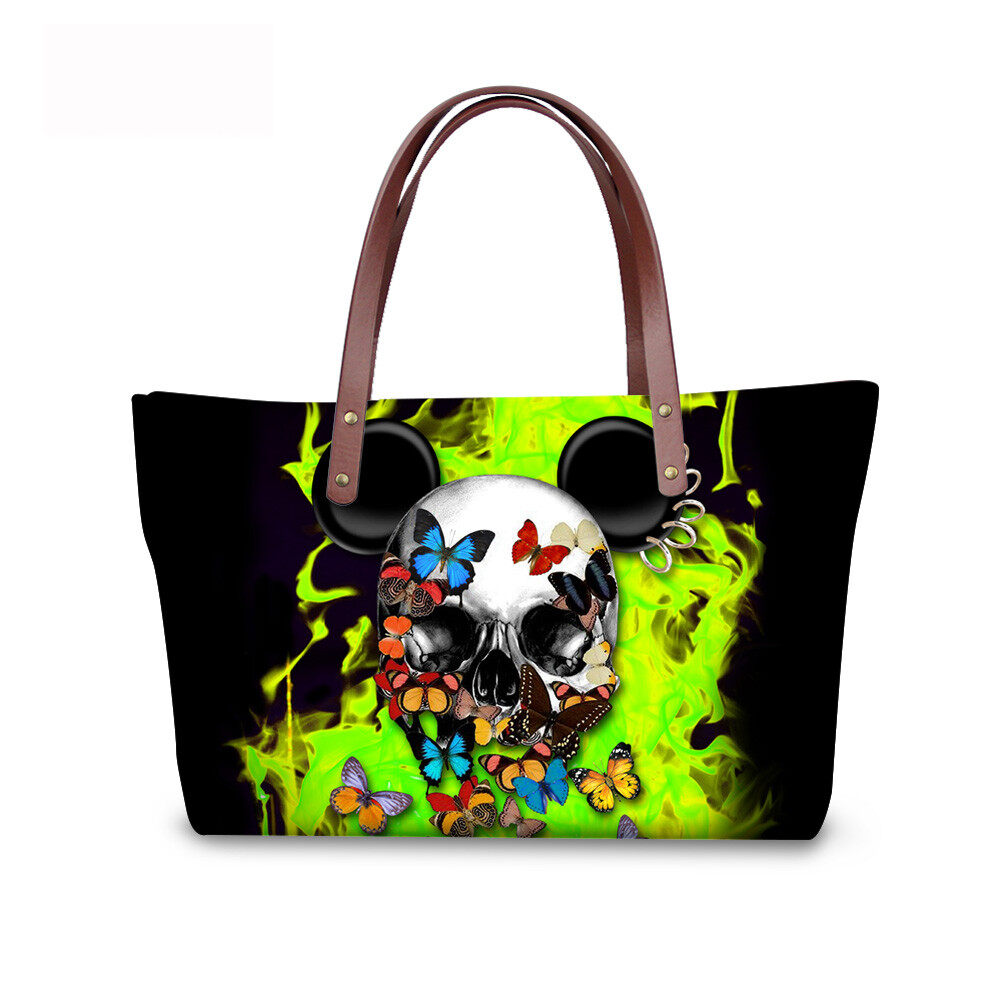 PhoRock Women Large Tote Bag 3D Colored Skull Printed Handbag NKB3D058 3
