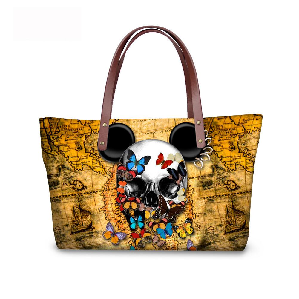 PhoRock Women Large Tote Bag 3D Colored Skull Printed Handbag NKB3D058 4