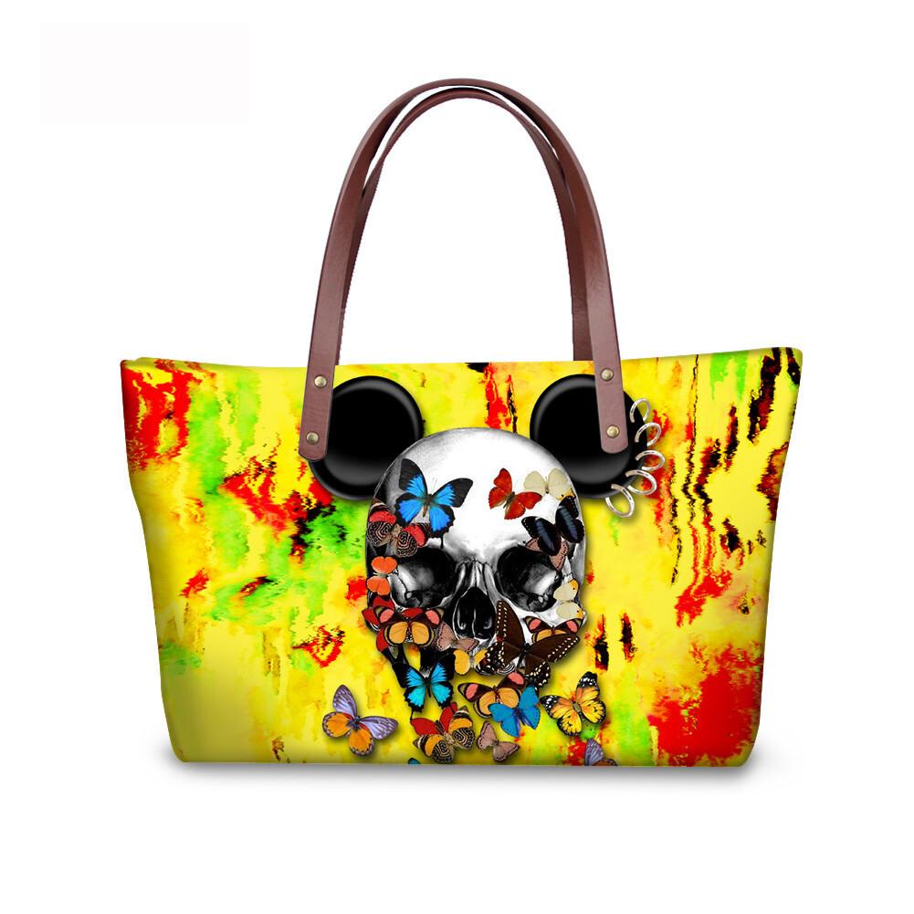 PhoRock Women Large Tote Bag 3D Colored Skull Printed Handbag NKB3D058 5