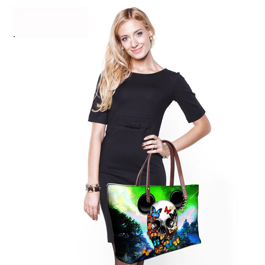 PhoRock Women Large Tote Bag 3D Colored Skull Printed Handbag NKB3D058 8