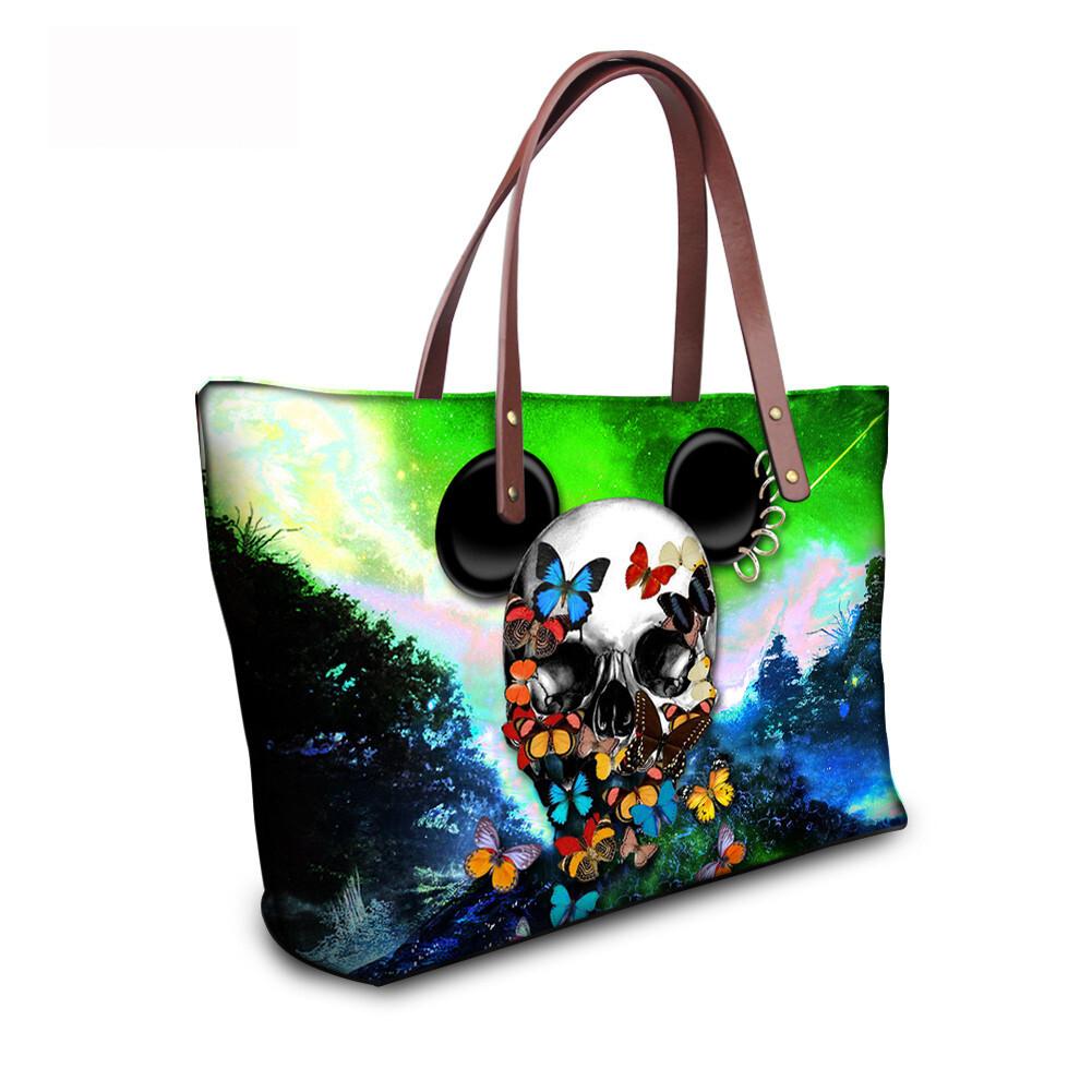 PhoRock Women Large Tote Bag 3D Colored Skull Printed Handbag NKB3D058 9