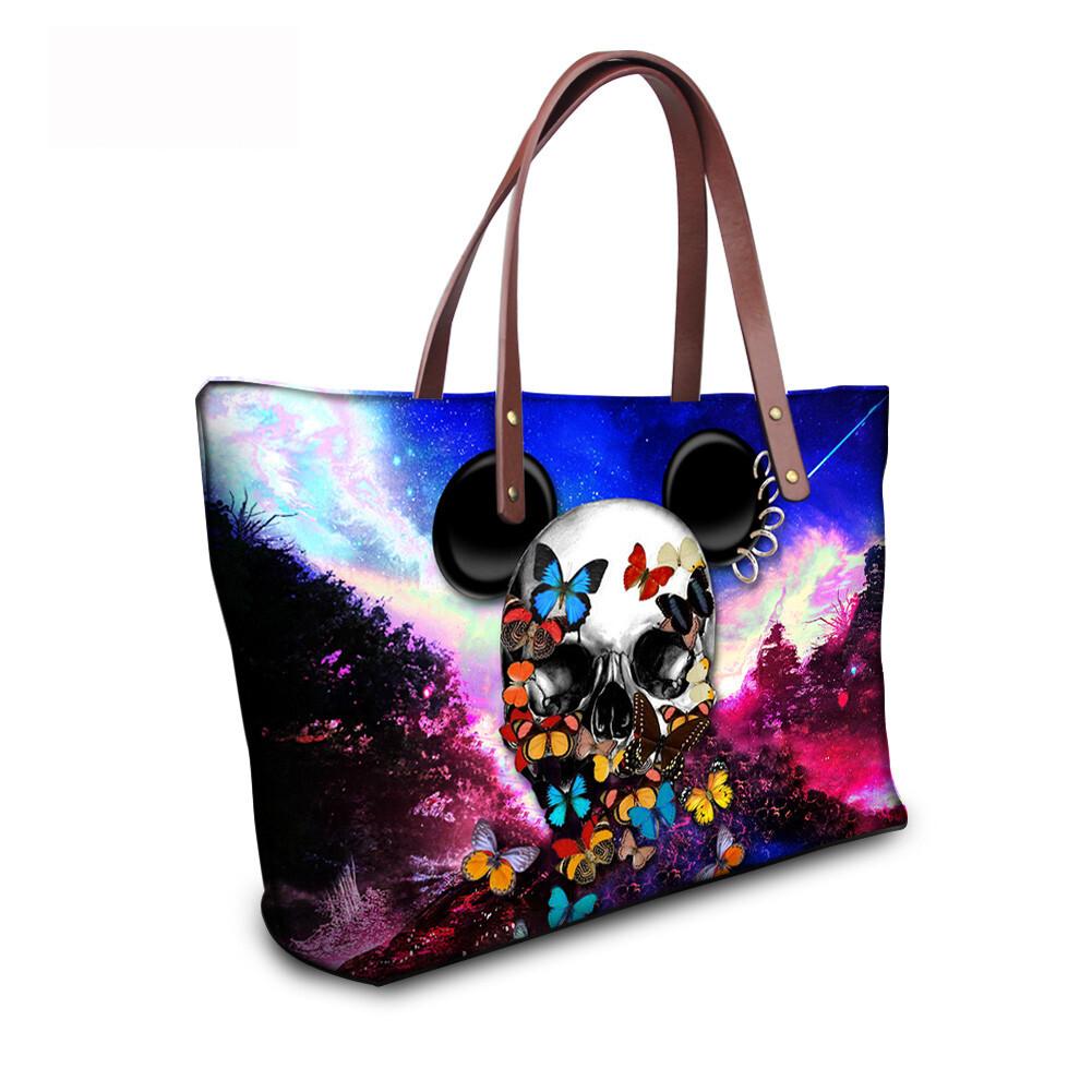 PhoRock Women Large Tote Bag 3D Colored Skull Printed Handbag NKB3D058 10