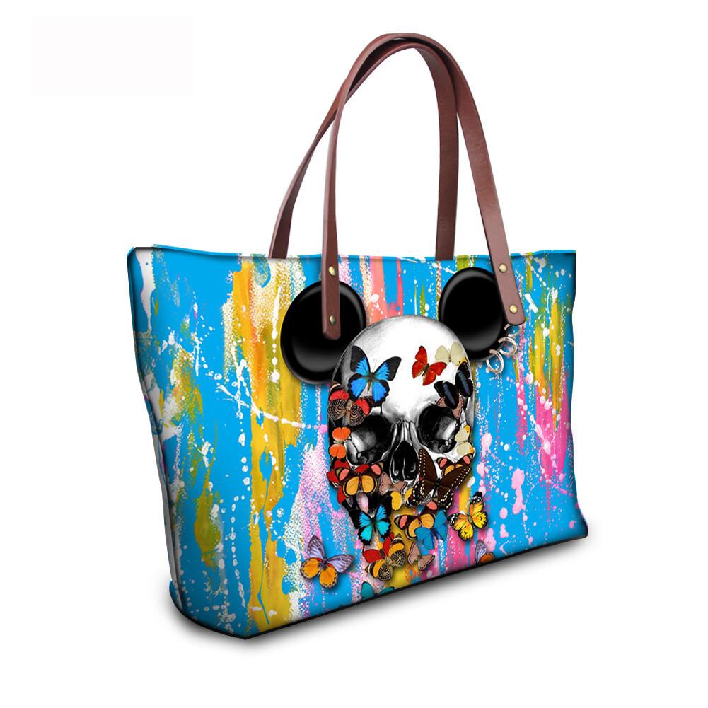 PhoRock Women Large Tote Bag 3D Colored Skull Printed Handbag NKB3D058 11