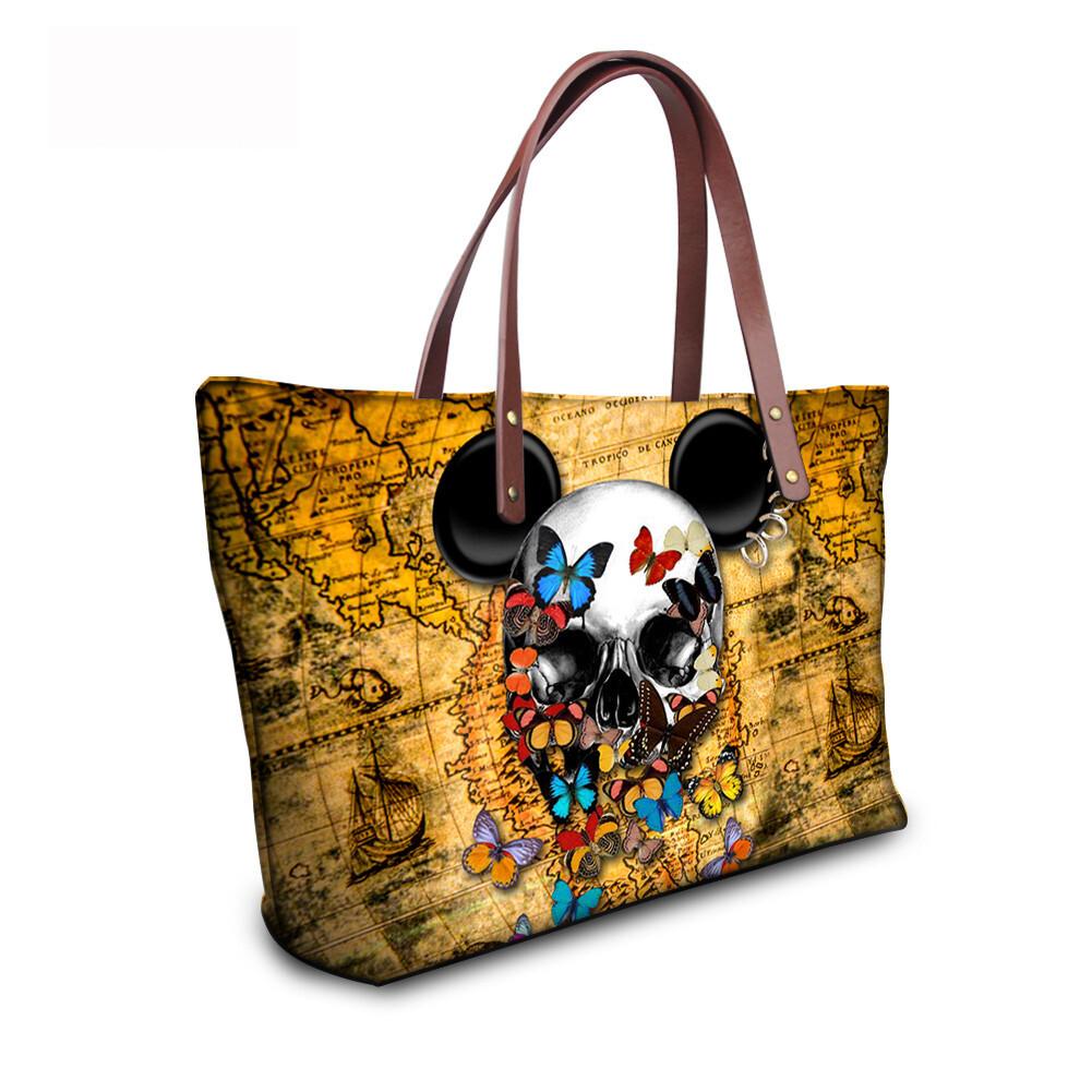 PhoRock Women Large Tote Bag 3D Colored Skull Printed Handbag NKB3D058 13