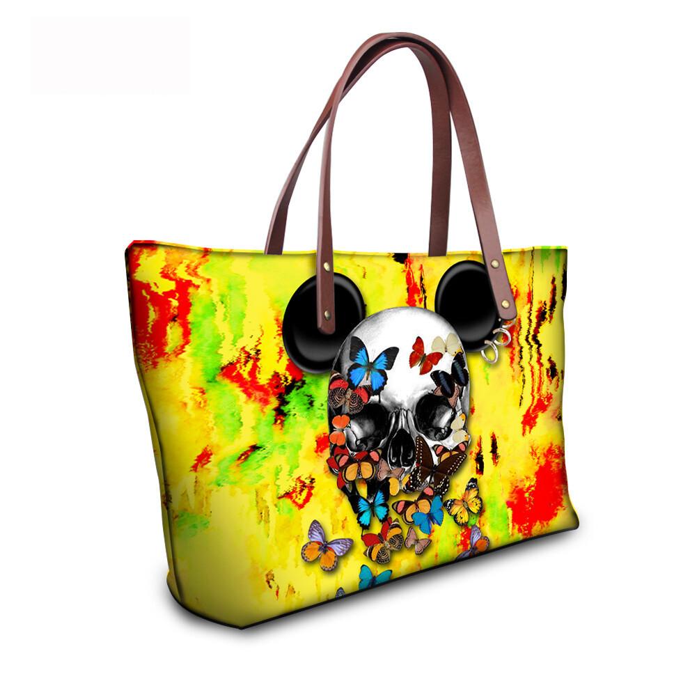 PhoRock Women Large Tote Bag 3D Colored Skull Printed Handbag NKB3D058 14