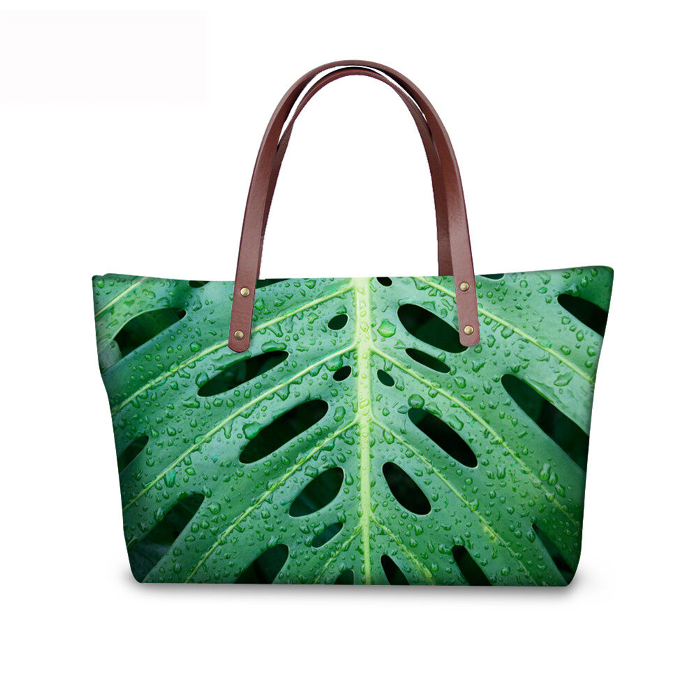 PhoRock Women Large Tote Bag 3D Leaves Printed Handbag NKB3D062 0