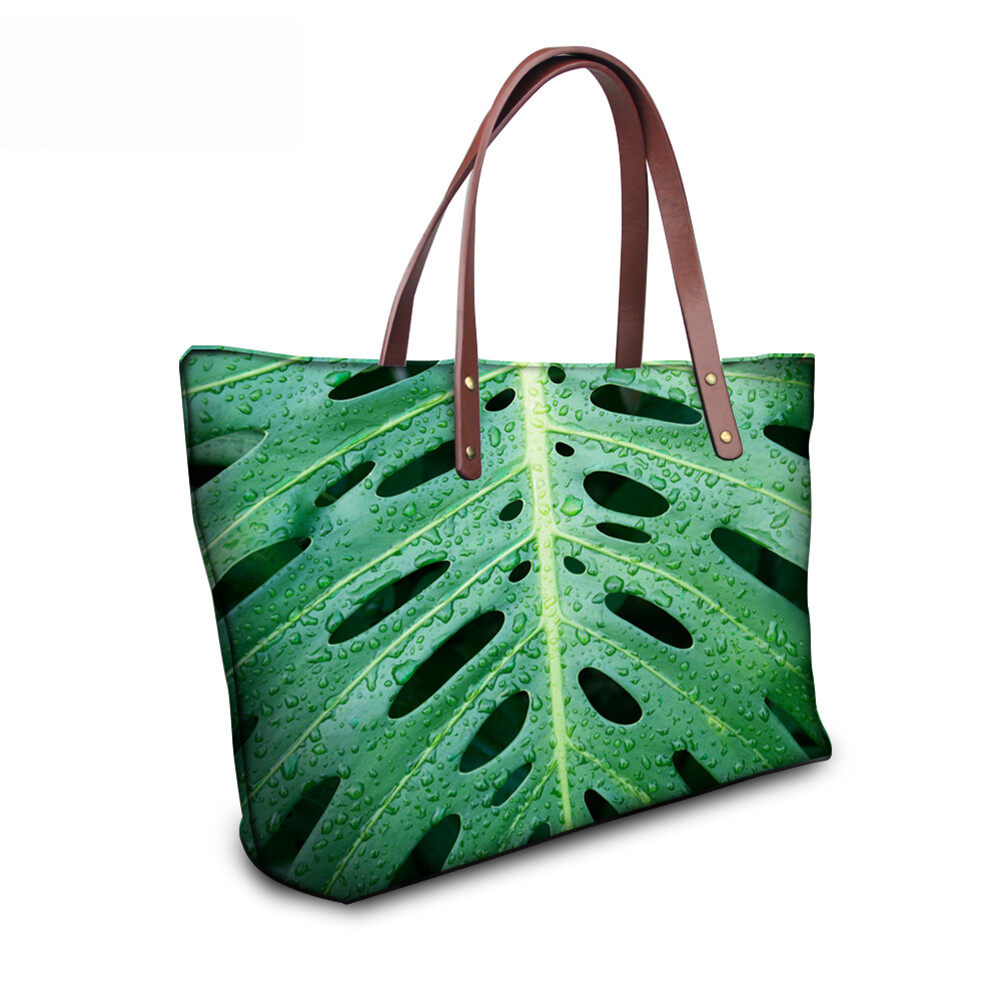 PhoRock Women Large Tote Bag 3D Leaves Printed Handbag NKB3D062 7