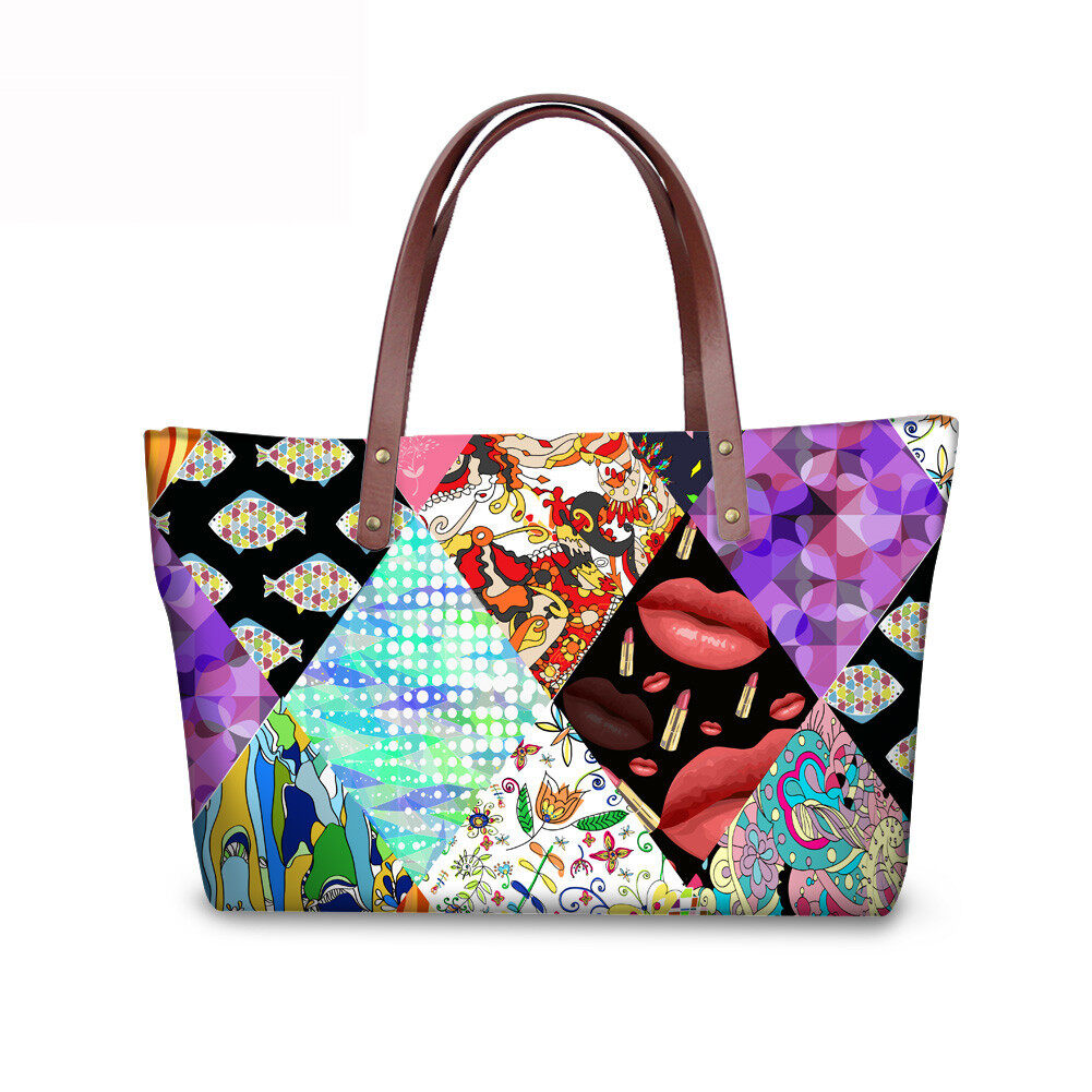 PhoRock Women Large Tote Bag 3D Rhombus Pattern Printed Handbag NKB3D028 0