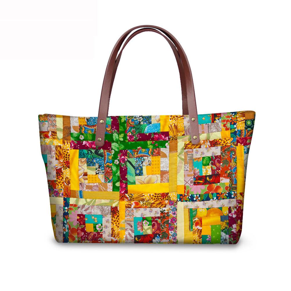 PhoRock Women Large Tote Bag 3D Rhombus Pattern Printed Handbag NKB3D028 1