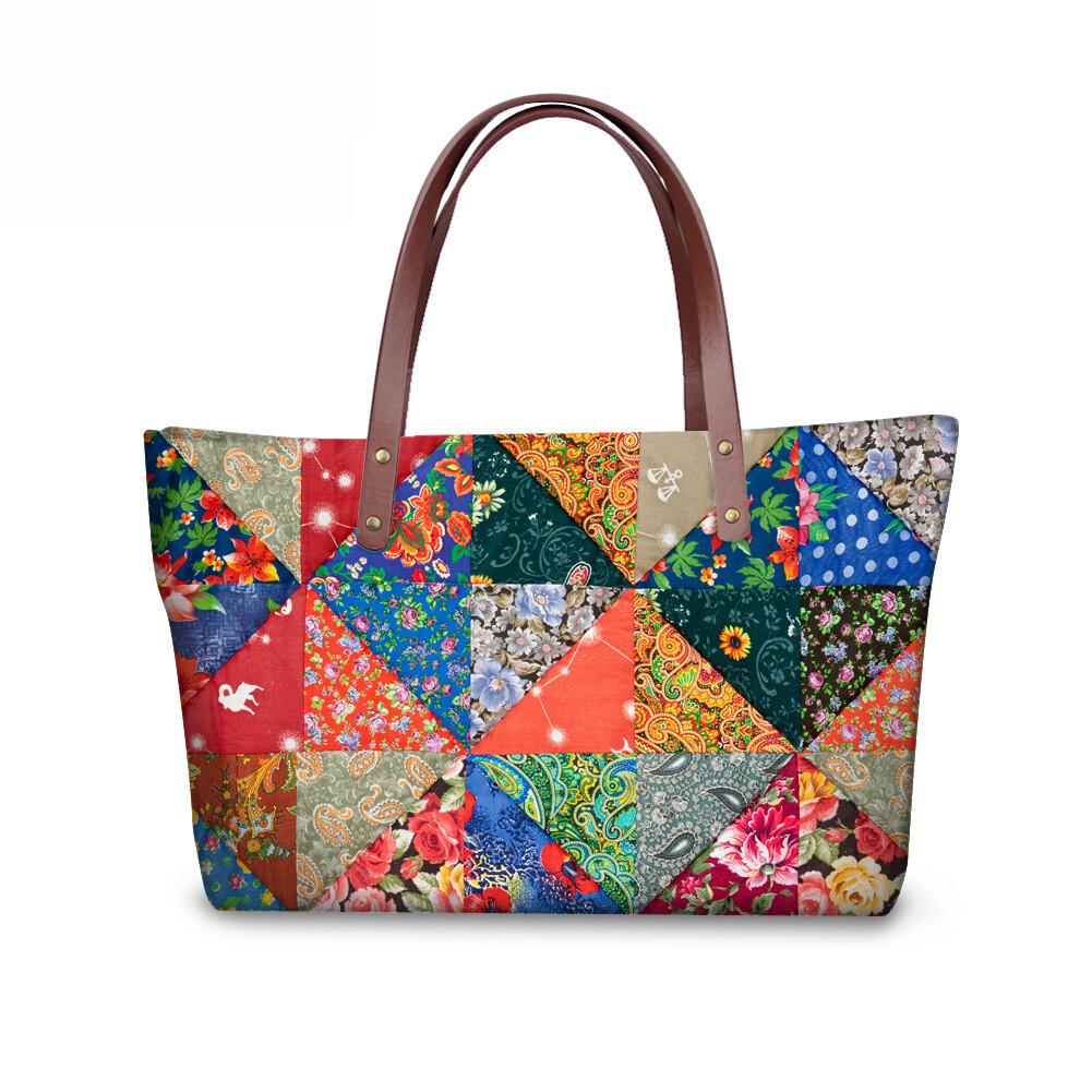 PhoRock Women Large Tote Bag 3D Rhombus Pattern Printed Handbag NKB3D028 2