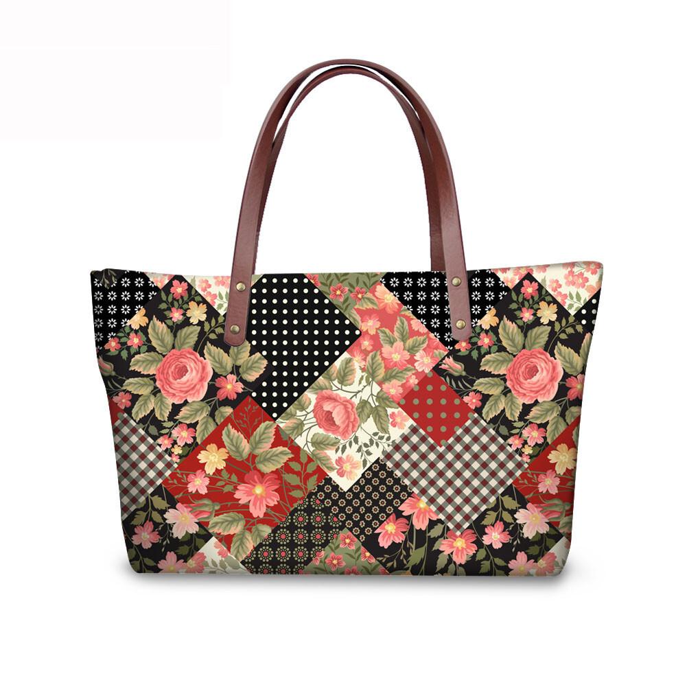 PhoRock Women Large Tote Bag 3D Rhombus Pattern Printed Handbag NKB3D028 3