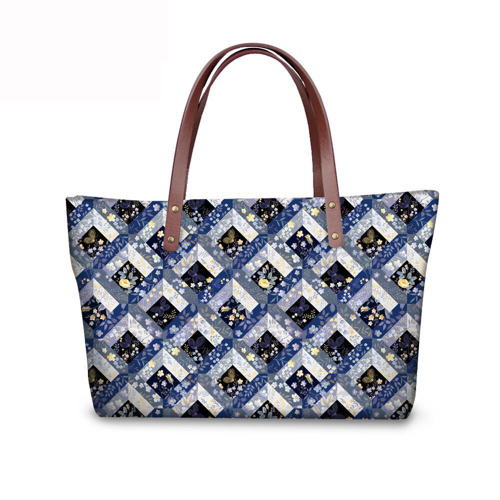 PhoRock Women Large Tote Bag 3D Rhombus Pattern Printed Handbag NKB3D028 4